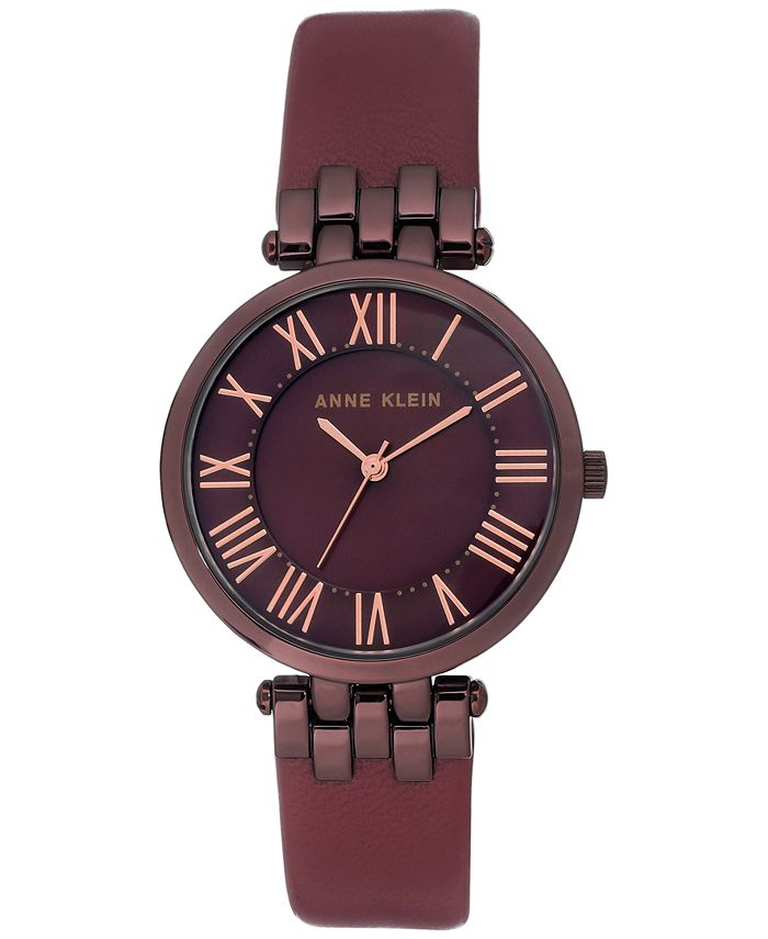 Anne Klein - Women's Burgundy Leather Strap Watch 34mm