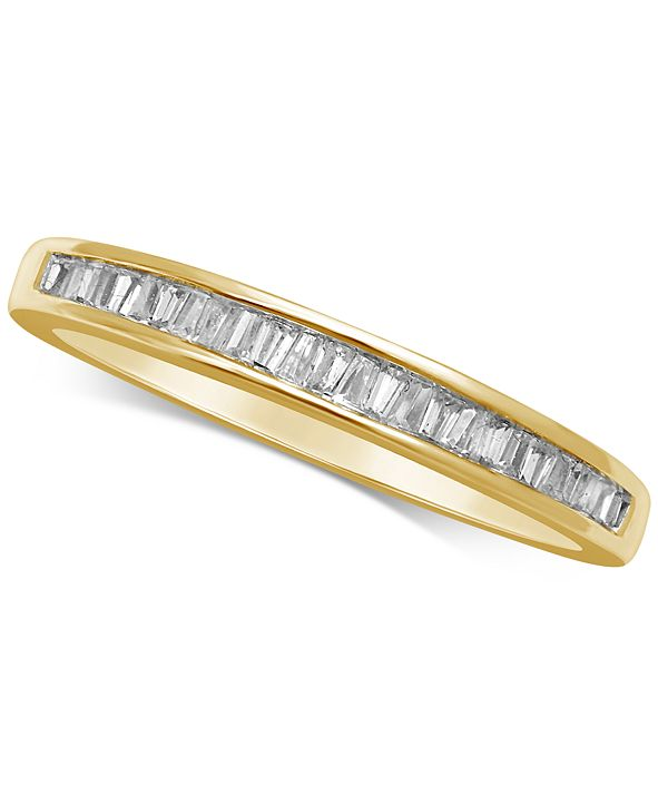 Macy's Diamond Baguette Gold Band (1/7 ct. t.w.) in 14k White Gold, Gold, or Rose Gold