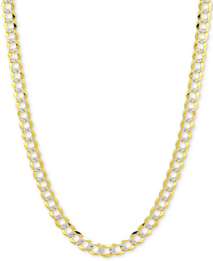 Italian Gold - Two-Tone Open Curb Chain Necklace in 14k Gold & White Gold