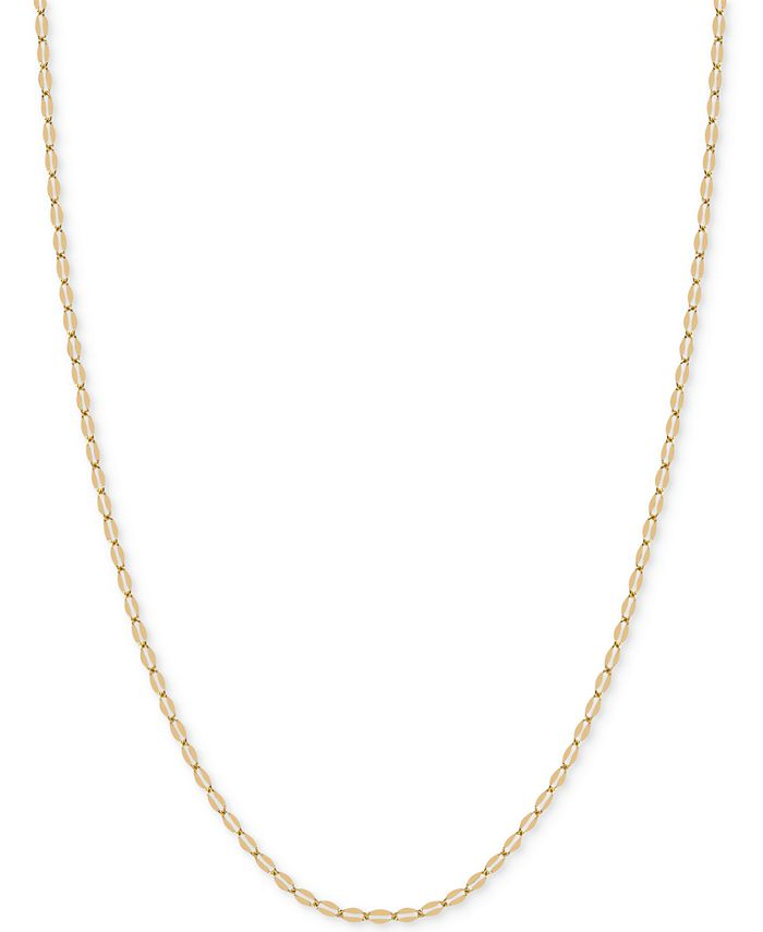 """Italian Gold - 18"""" Flattened Link Chain Necklace in 14k Gold"""