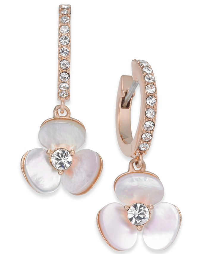 kate spade new york - 14k Rose Gold-Plated Pavé & Enamel Flower Drop Earrings