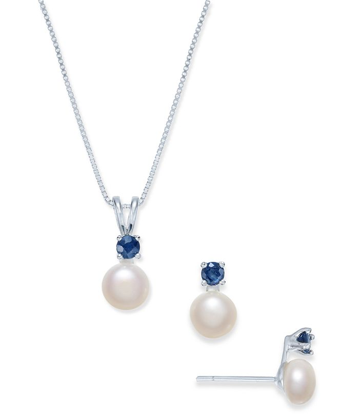 Macy's Cultured Freshwater Pearl (6mm) & Sapphire (1/2 ct. t.w.) Jewelry Set in Sterling Silver