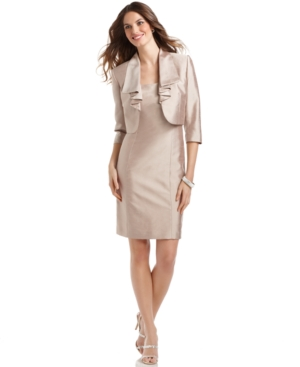 Buy macys & suits - Tahari Petite Dress and Jacket, Sleeveless Shantung Sheath