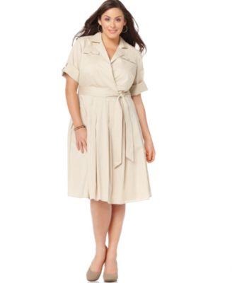 Jones New York Plus Size Dress, Safari Faux Wrap