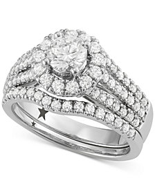 Macy's Star Signature Diamond™ Halo Engagement Bridal Set (1-3/4 ct. t.w.) in 14k White Gold