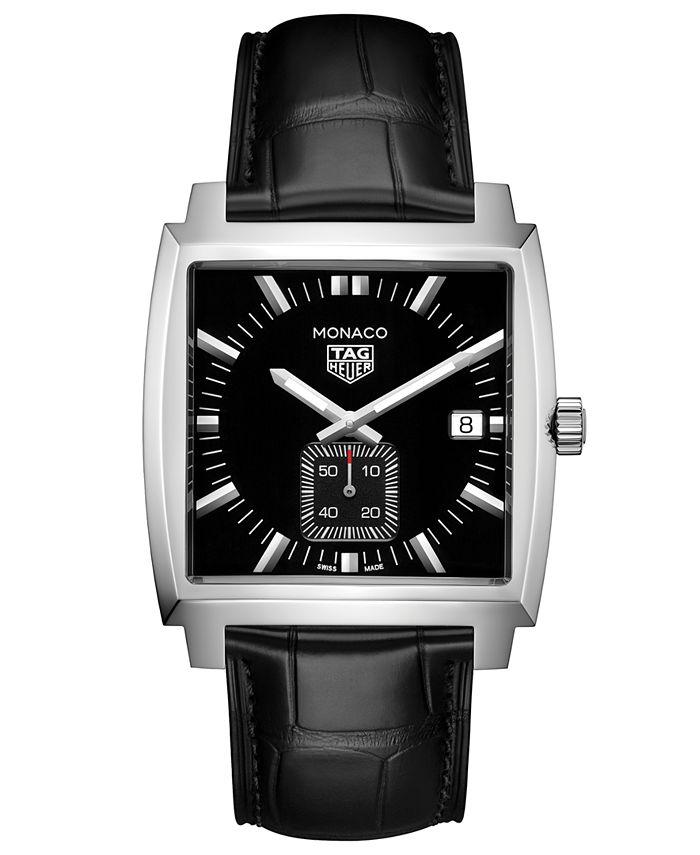 TAG Heuer - Men's Swiss Monaco Black Alligator Leather Strap Watch 37x37mm