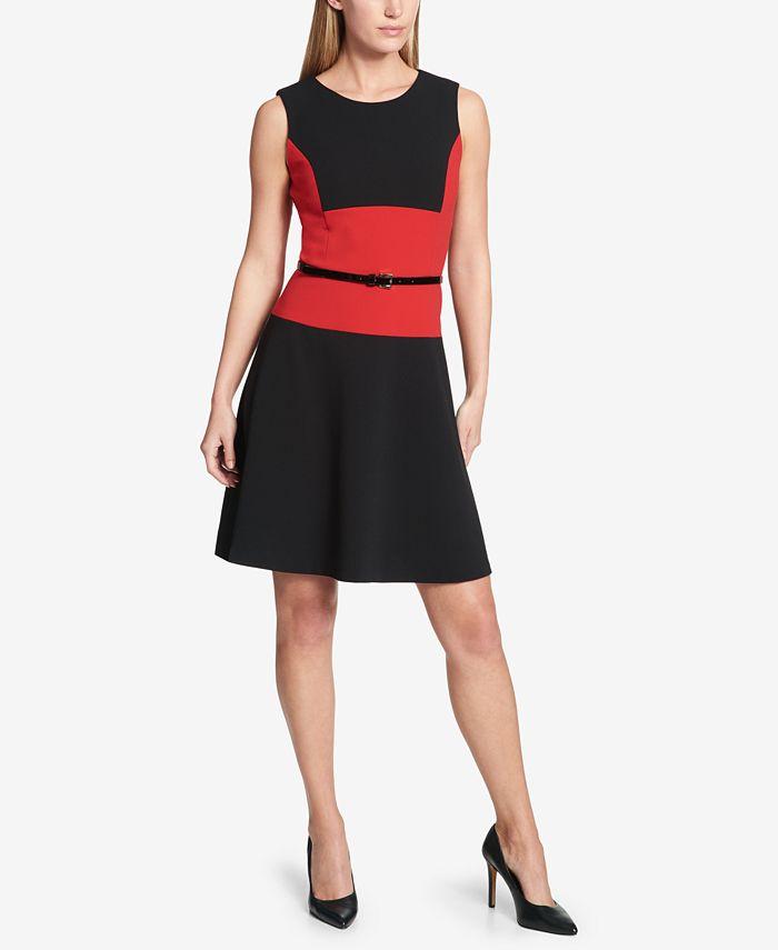 Tommy Hilfiger - Belted Colorblocked A-Line Dress
