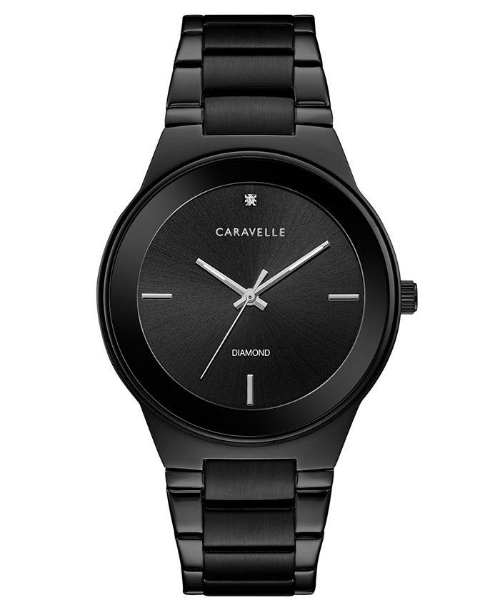 Caravelle - Men's Diamond-Accent Black Stainless Steel Bracelet Watch 40mm