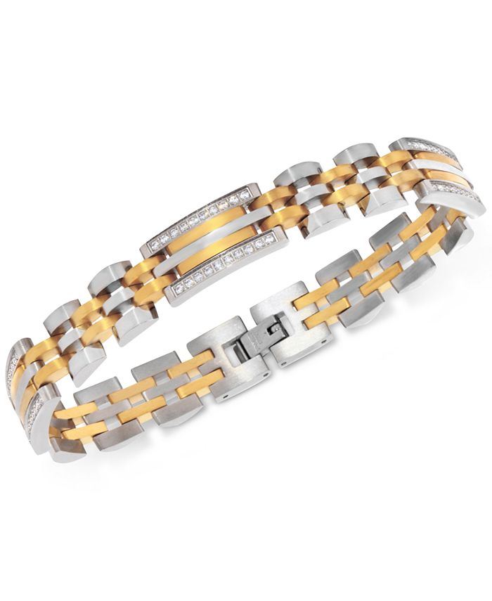 Macy's - Men's Diamond Two-Tone Link Bracelet (1/2 ct. t.w.) in Stainless Steel and Yellow Ion-Plate