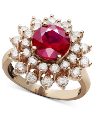 Effy Collection 14k Rose Gold Ring, Ruby (2-5/8 ct. t.w.) and Two Row Diamond (1-1/3 ct. t.w.)
