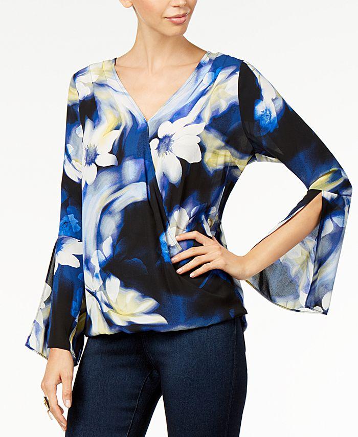 Thalia Sodi - Printed Bell-Sleeve Top, Created For Macy's