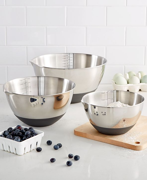 Martha Stewart Collection Set of 3 Non-Skid Mixing Bowls with Measurements, Created for Macy's