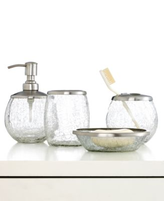 Paradigm Bath Accessories, Futurama Crackle Glass Soap and Lotion Dispenser