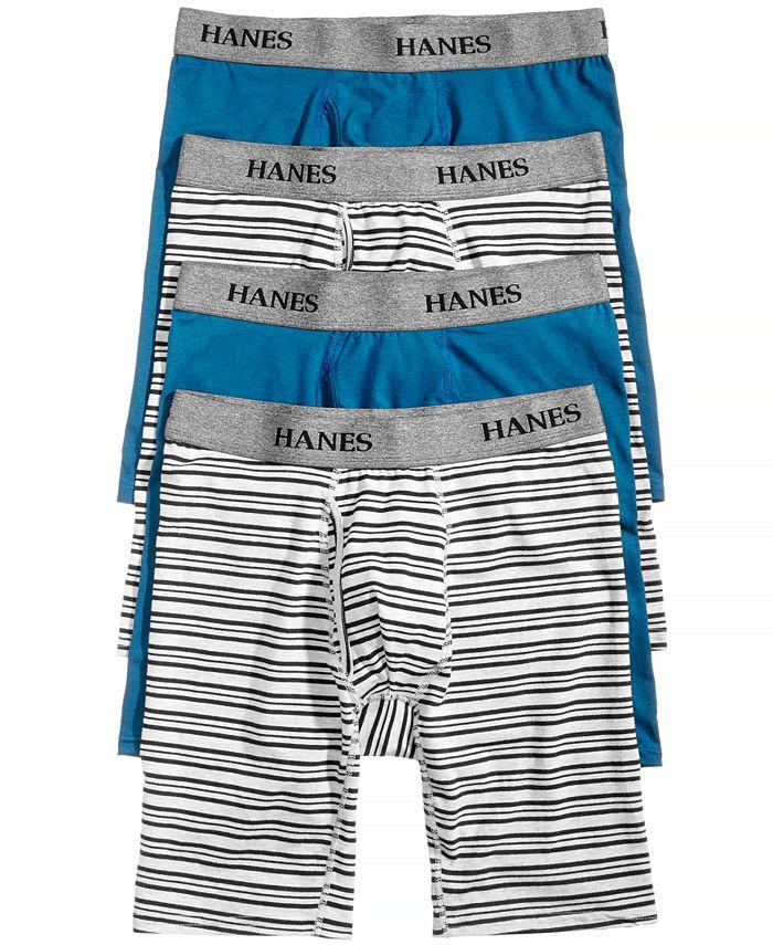 Hanes - Men's 4-Pk. Platinum Stretch Long-Line Boxer Briefs