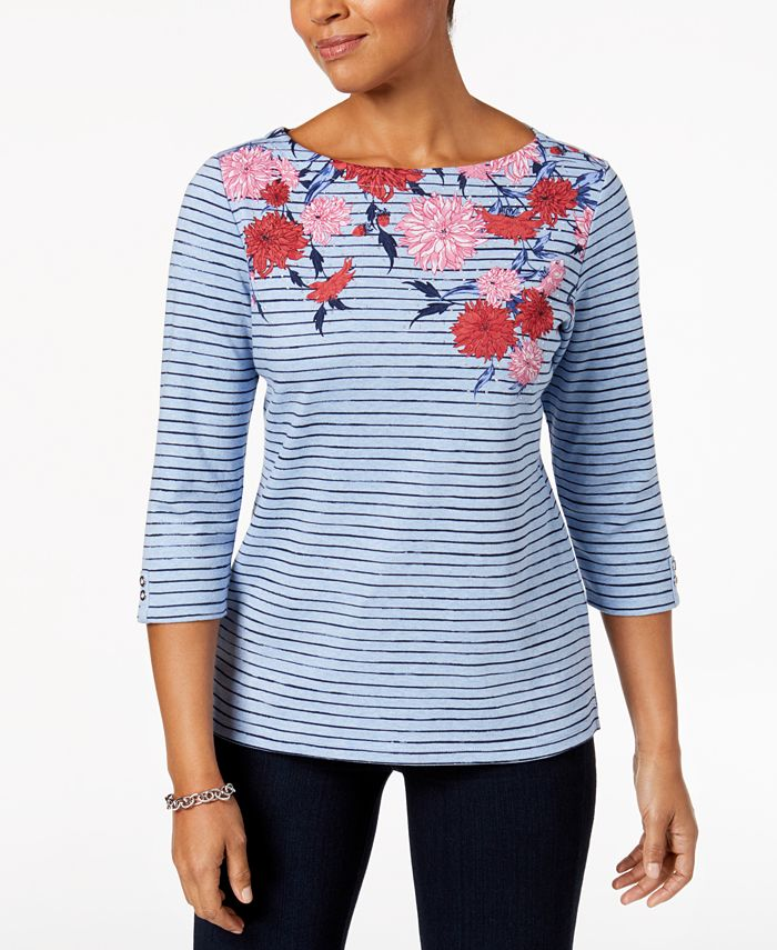 Alfani - Petite Mixed-Print Boat-Neck Top, Created for Macy's