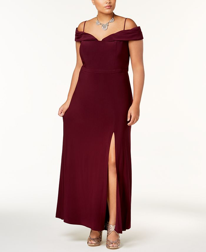 Morgan & Company - Trendy Plus Size Off-The-Shoulder Gown