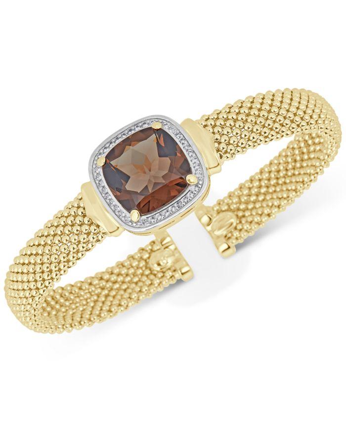 Macy's Smoky Quartz (10 ct. t.w.) & White Topaz (1/3 ct. t.w.) Mesh Bracelet in 14k Gold-Plated Sterling Silver & Reviews - Bracelets - Jewelry & Watches - Macy's