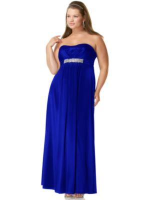 Ruby Rox Plus Size Prom Dress, Strapless Rhinestone