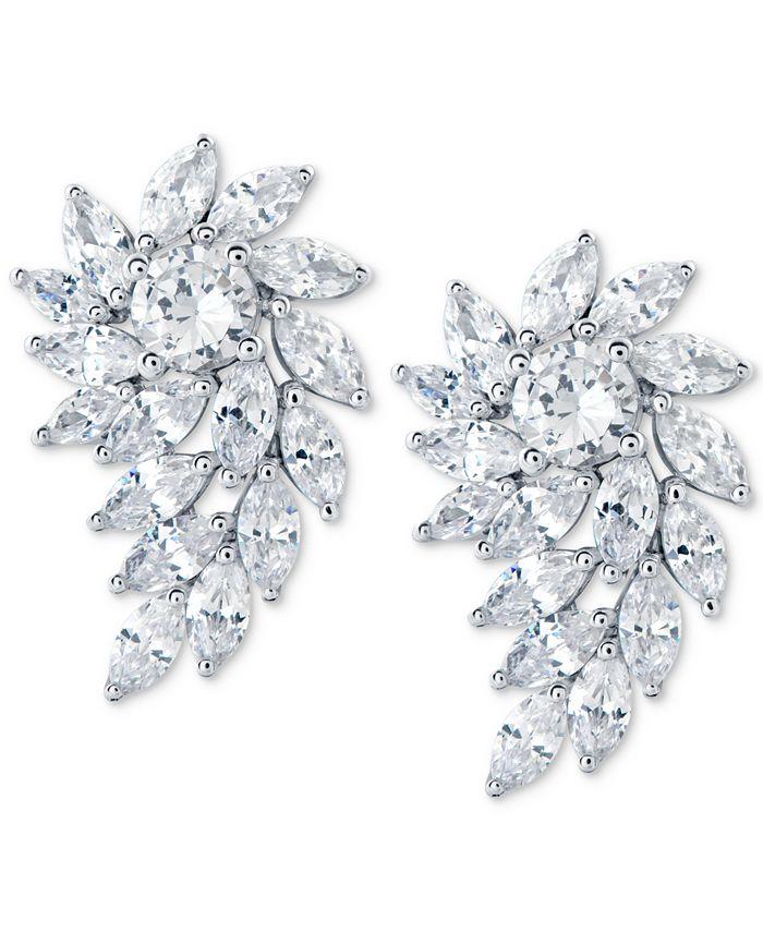 Arabella - Swarovski Zirconia Cluster Drop Earrings in Sterling Silver