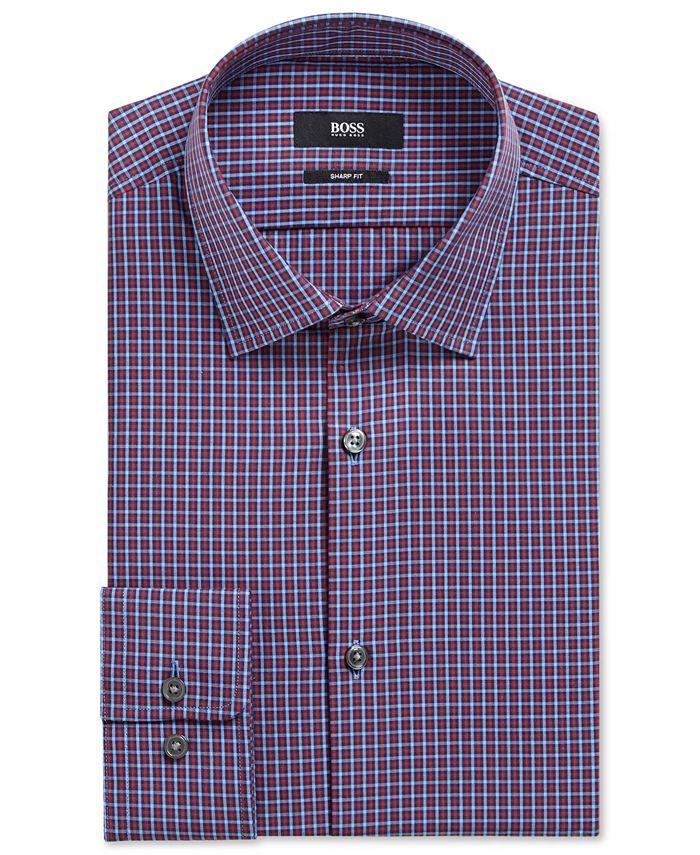 Hugo Boss - Men's Sharp-Fit Plaid Cotton Dress Shirt