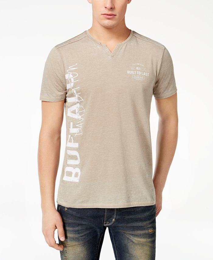 Buffalo David Bitton - Men's Nadami Logo-Print Split-Neck T-Shirt