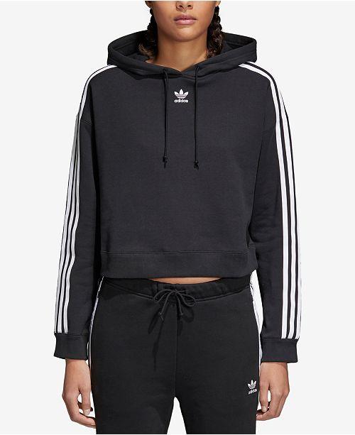 para jugar Ruina Excéntrico  adidas Women's adicolor Cropped Cotton Three-Stripe Hoodie & Reviews -  Women - Macy's