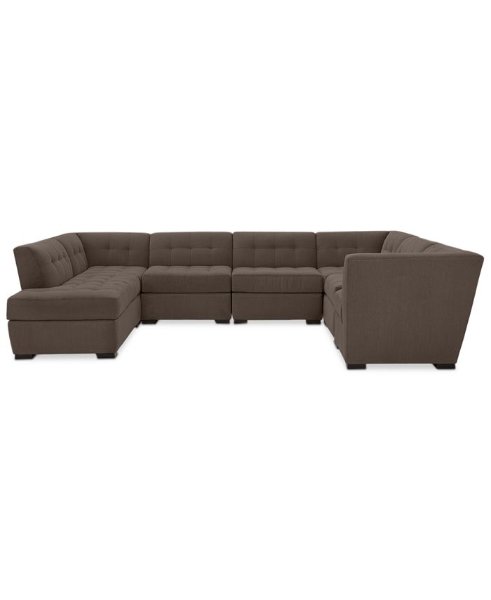 Furniture - Roxanne II Performance Fabric 7-Pc. Modular Sofa with Bumper Chaise: Custom Colors, Created for Macy's