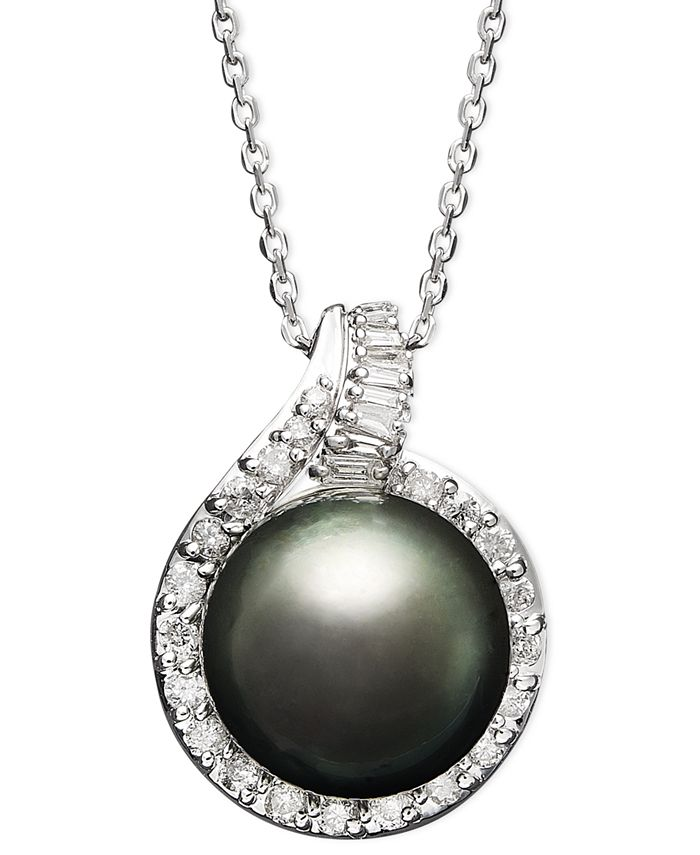 Macy's - 14k White Gold Necklace, Cultured Tahitian Pearl (12mm) and Diamond (1/2 ct. t.w.) Pendant