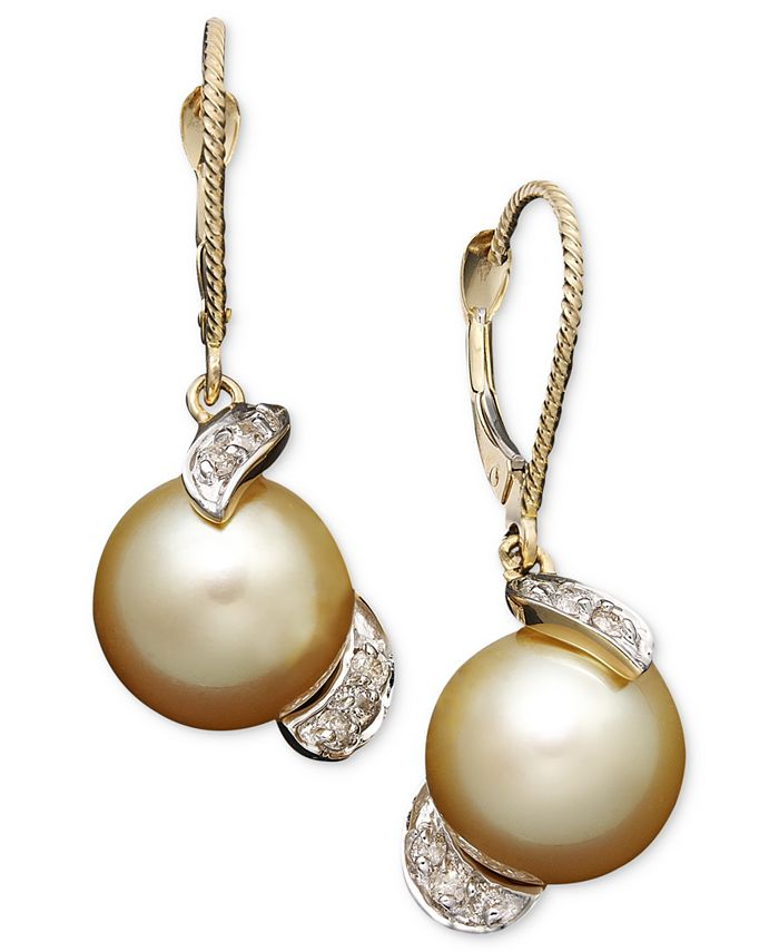 Macy's - 14k Gold Earrings, Cultured Golden South Sea Pearl (9mm) and Diamond (1/5 ct. t.w.) Drop Earrings