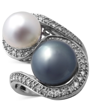 Effy Collection 14k White Gold Ring, Cultured Tahitian Pearl (11-1/2 mm), Cultured Freshwater Pearl (9-1/2 mm) and Diamond (3/8 ct. t.w.) Swirl