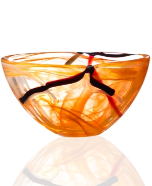 Kosta Boda Crystal Bowl, Contrast Orange Small