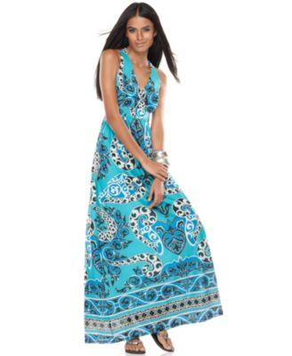 INC International Concepts Dress, Sleeveless V-Neck Empire Waist Printed Maxi