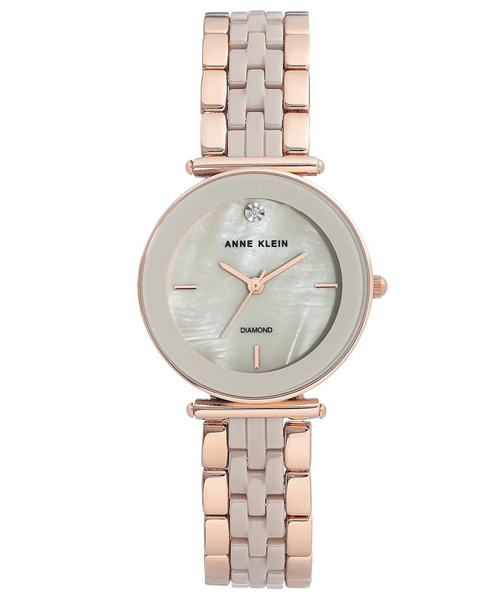 Anne Klein - Women's Diamond-Accent Rose Gold-Tone & Taupe Ceramic Bracelet Watch 30mm