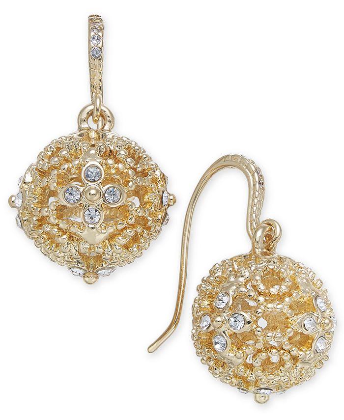 Charter Club - Gold-Tone Pavé Filigree Orb Drop Earrings