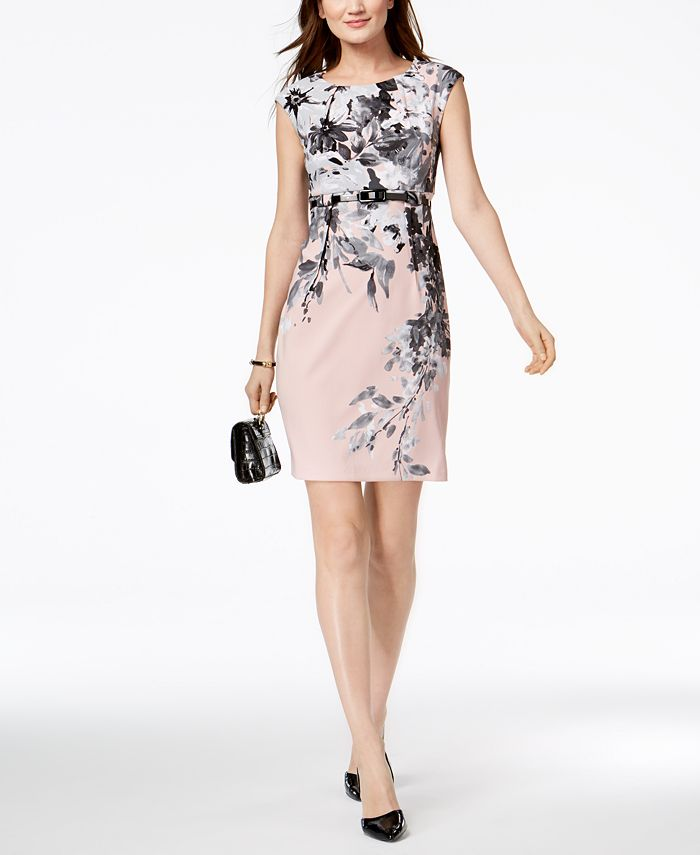 Connected - Petite Belted Sheath Dress
