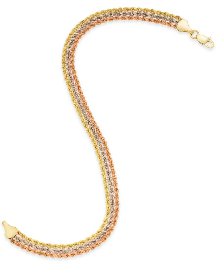 Macy's Tri-Color Triple Rope Bracelet in 14k Gold, White Gold & Rose Gold & Reviews - Bracelets - Jewelry & Watches - Macy's
