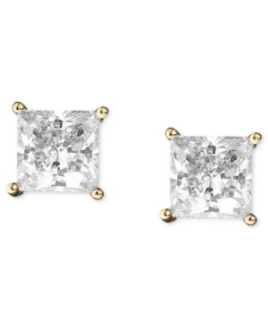 CRISLU Earrings, 18k Gold over Sterling Silver Princess Cut Cubic Zirconia Stud Earrings (2 ct. t.w.)