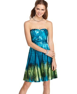 Trixxi Dress, Sleeveless Tie Dye Printed Strapless Sheath - Dresses - Juniors  - Macy's from macys.com