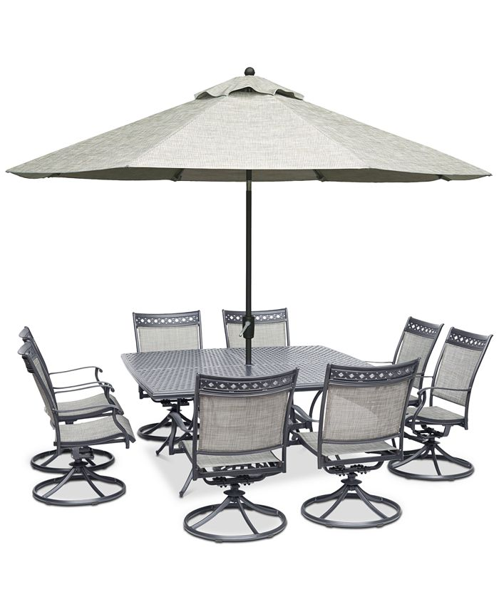"Furniture - Vintage II Outdoor Aluminum 9-Pc. Dining Set (64"" Square Dining Table & 8 Swivel Rockers)"