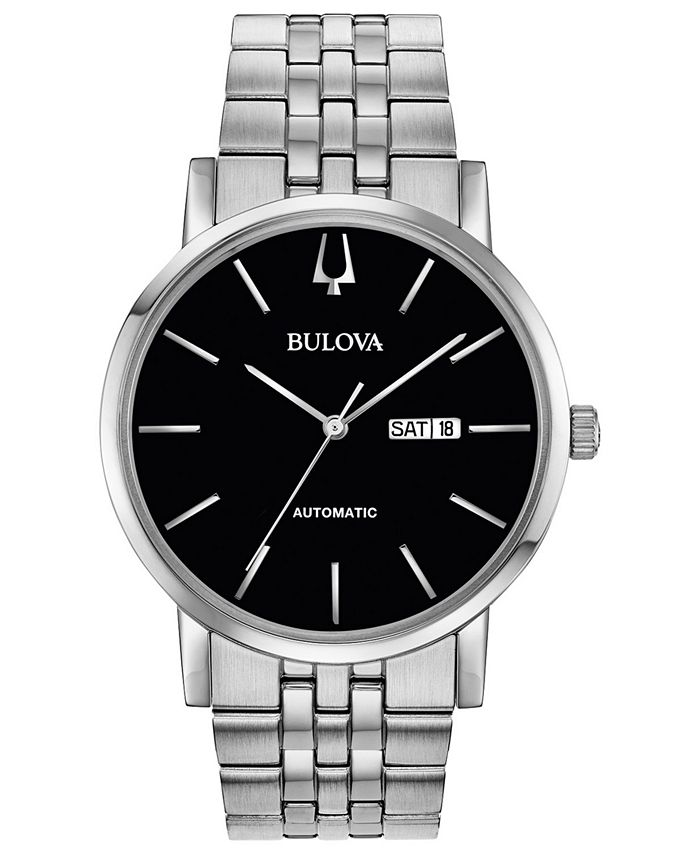 Bulova - Men's Automatic American Clipper Stainless Steel Bracelet Watch 42mm