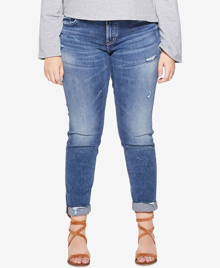 Silver Jeans Co. - Plus Size Sam Distressed Boyfriend-Fit Jeans