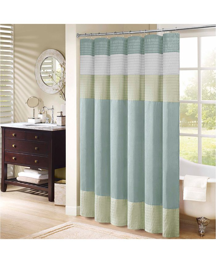 """Madison Park - Amherst 72"""" x 72"""" Colorblocked Faux-Silk Shower Curtain"""