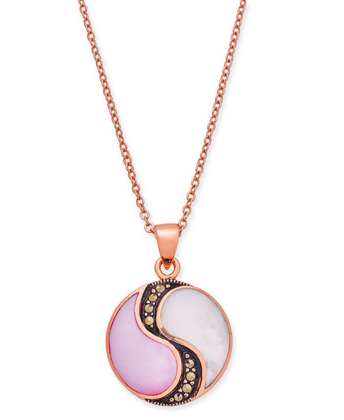 """Macy's - Marcasite & Mother-of-Pearl Disc 18"""" Pendant Necklace in Rose Gold-Plate"""