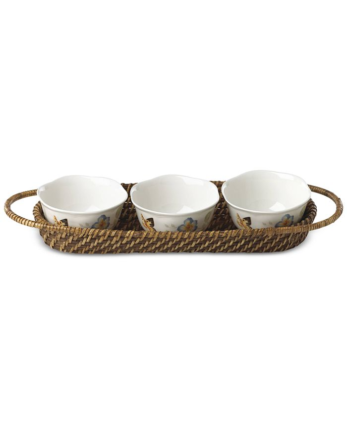Lenox - Butterfly Meadow Rattan Hors-D'Oeuvre Holder With 3 Bowls