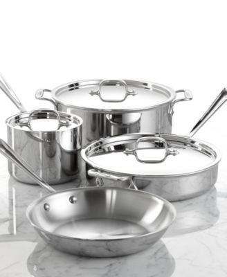 All-Clad Stainless Steel Cookware, 7 Piece Set