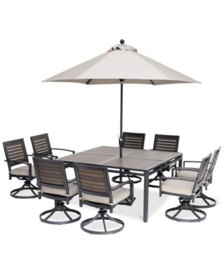 """Marlough II Outdoor Aluminum 9-Pc. Dining Set (62"""" Square Table and 8 Swivel Rockers) with Sunbrella® Cushions, Created for Macy's"""