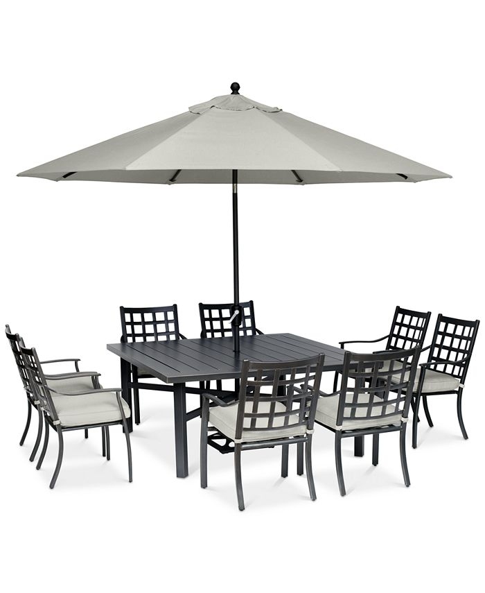 "Furniture - Highland Aluminum Outdoor 9-Pc. Dining Set (64"" Square Dining Table and 8 Dining Chairs) with Sunbrella® Cushions"