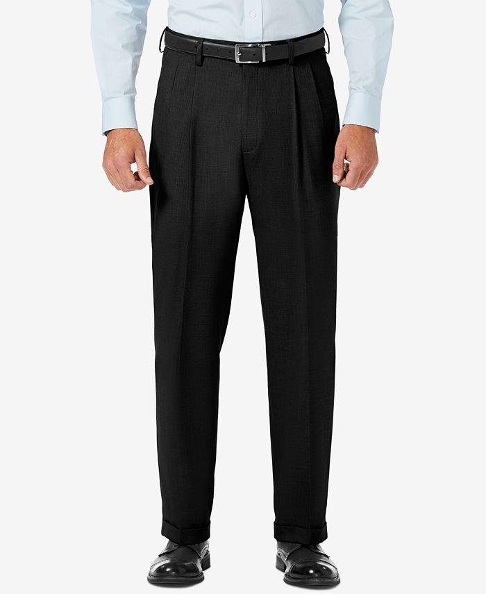 Haggar - Men's Sharkskin Classic-Fit Pleated Hidden Expandable Waistband Dress Pants