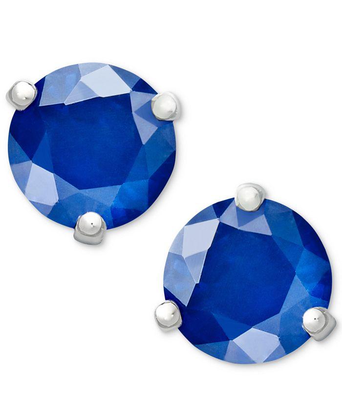 Macy's - 14k White Gold Earrings, Sapphire Stud (1-1/10 ct. t.w.)