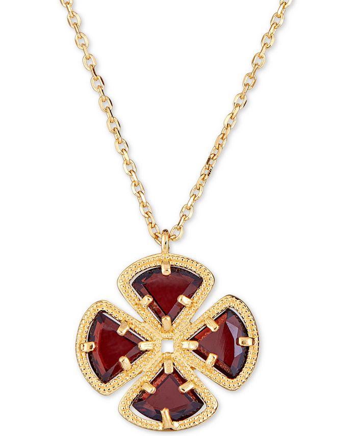 "Macy's - Rhodolite Garnet Clover Pendant Necklace (4 ct. t.w.) in 18k Gold-Plated Sterling Silver, 16"" + 1"" extender"